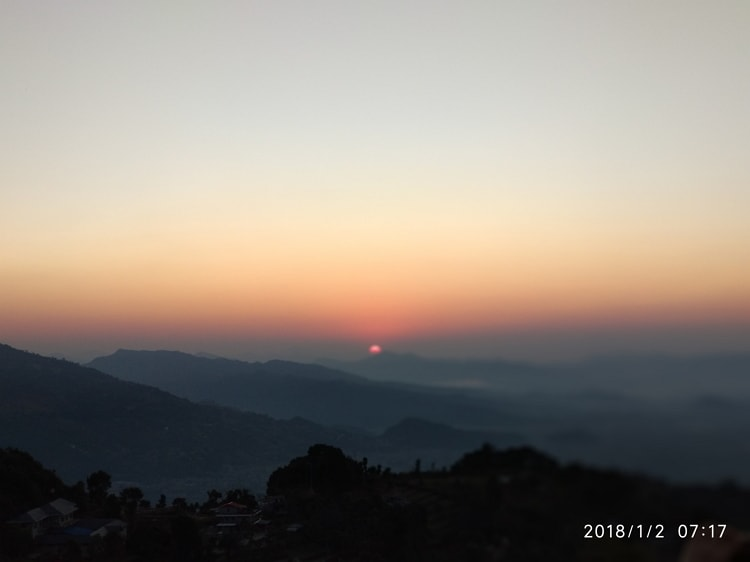 First rays of the Sun enjoyed from Sarangkot