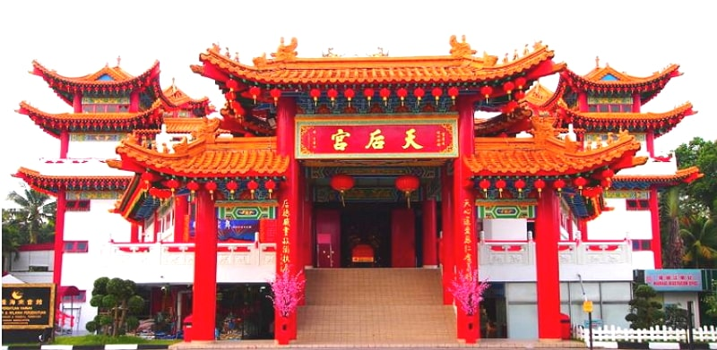 The Thean Hou Temple is a six-tiered temple of the Chinese sea goddess at Malaysia