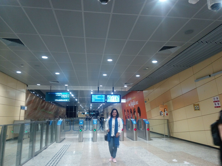 Waiting for MRT station at Singapore