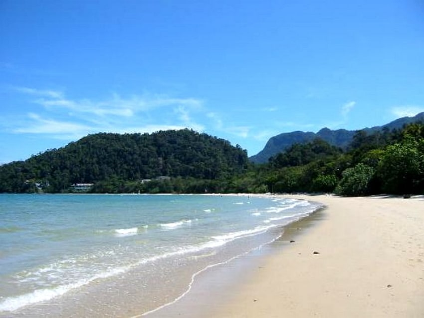 Datai beach shape looks like a half moon attractions in Langkawi, Malaysia